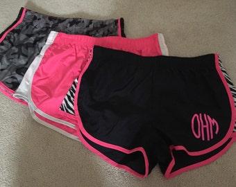 Monogram running shorts Zebra stripe athletic shorts pink and black camo camoflauge initials pink