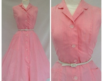 1950s Dress, Cotton, Gingham, Rockabilly,  size 8, US size 6.