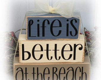 Life Is Better At The Beach Itty Bitty Wood Stacking Blocks