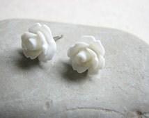 White Rose Studs - Small White Flower Earrings, Dainty Bridal Earrings, White Stud Earrings