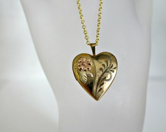 Vintage Gold Filled Heart Locket and Gold Filled Chain Gift for Her