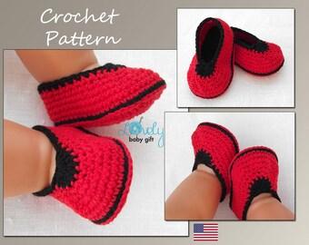 Crochet Baby Shoes Pattern, Crochet Baby Slippers Pattern, CP-201