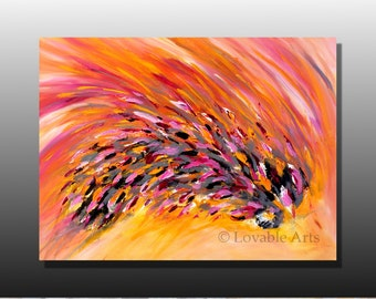 Large ORIGINAL pink orange yellow Painting 40 Large Modern Art Pink Contemporary yellow Abstract  painting Palette Knife textured fine art