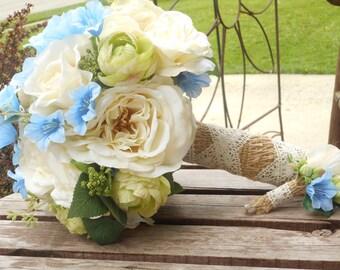 Rustic Wedding Bouquet / Ivory Blue and Green Silk Bridal Bouquet / Country Wedding / Garden Wedding / Rustic Bridal / Silk Wedding Flowers