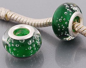 European Style Bead Charm for European Bracelet, Murano Glass, Silver Cores, Emerald Green ~ Summer Collection