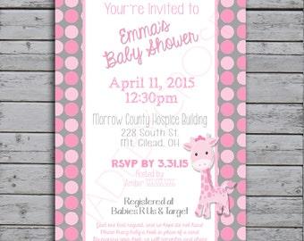 Printable Baby Shower Invitation, Baby Giraffe - Pink
