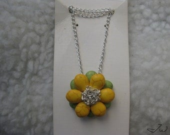 Yellow Turquoise Flower Necklace with Silver chain