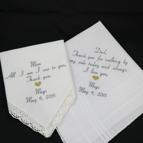 Mom And Dad Embroidered Wedding Handkerchiefs By NapaEmbroidery