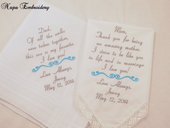 Mom and Dad Wedding gift set of 2 Embroidered Wedding Hankerchiefs ...
