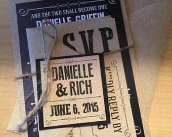 Black & White Chalkboard Rustic Wedding Invitation
