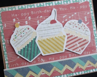 Music Theme Birthday Card with cupcakes