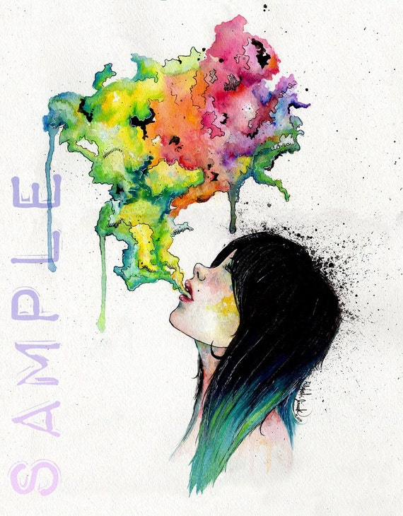 items similar to print watercolor girl blowing colorful