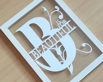 B is for beautiful papercut in an a4 size floating frame