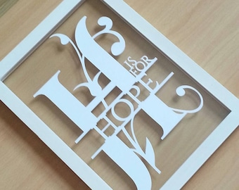 H is for Hope papercut in an a4 size floating frame