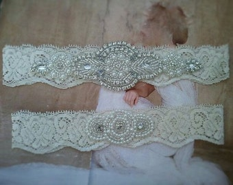 SALE - Wedding Garter Set - Pearl and Rhinestone Garter Set on a Ivory Lace Garter Set with Pearl & Rhinestone - Style G233