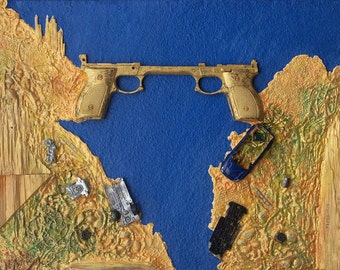 Bridge of War – found objects assemblage - mixed media