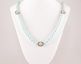SALE: Mint Green Pearl Necklace Was 39.99