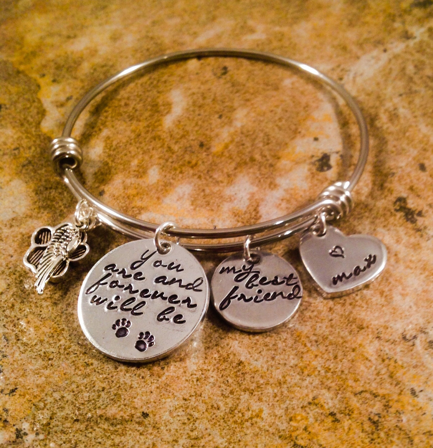 Popular Bangle Bracelets: Pet Memorial Bangle Bracelet Pet Loss Bracelet My Best