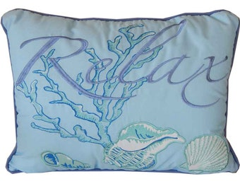 """Embroidered Relax Ocean Wave Decorative Throw Pillow 14"""" / Decorative Nautical Pillows / Nautical Decor / Nautical Accents"""