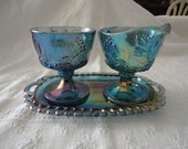 Blue Carnival Glass Harvest Grapes Leaves Pattern Creamer Sugar Bowl Set With Tray Vintage Home Decor