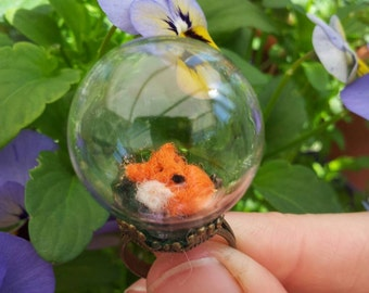 Curled up needle felt fox  miniature in a glass globe ring