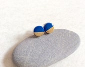 Round blue lapis & gold tiny stud earrings,small stud earrings,titanium stud earrings,gift for her,Valentine's day gift,8mm