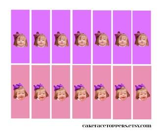 DIY photo mini chocolate bar wrappers.  Printable file