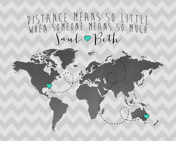 Long Distance Relationship Quotes Travel Map by WanderingFables – Maps Travel Distance