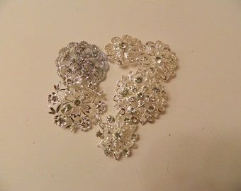 Set of 6 Clear Gem Brooches