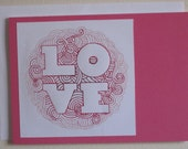 Love Card - Pink Embroidered Blank Note Card