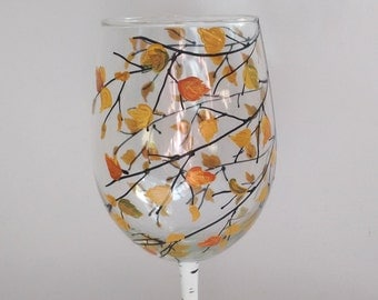 "Fall Bridal party, Baby shower, Fall wedding, Bridesmaid gift, Fall Birthday Party, Hand Painted Wine glass ""Fall"""