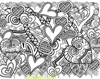 zentangle inspired hearts hearts line art heart coloring pages adult coloring page - Coloring Pages For Adults Abstract