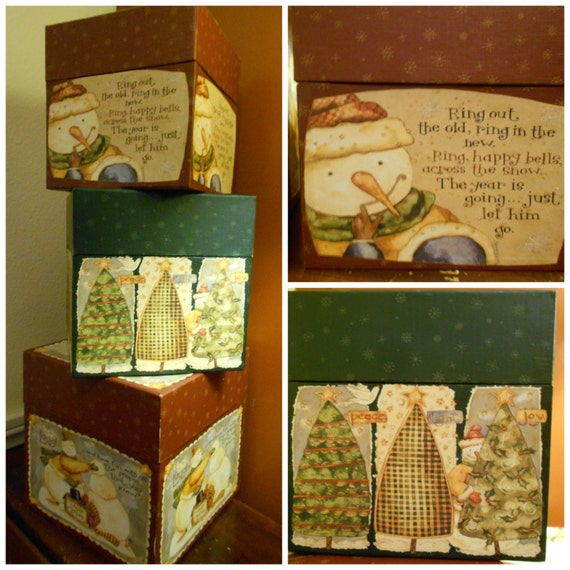 Country Christmas Decor Vintage Snowman Stacking Bobs Boxes Holiday ...