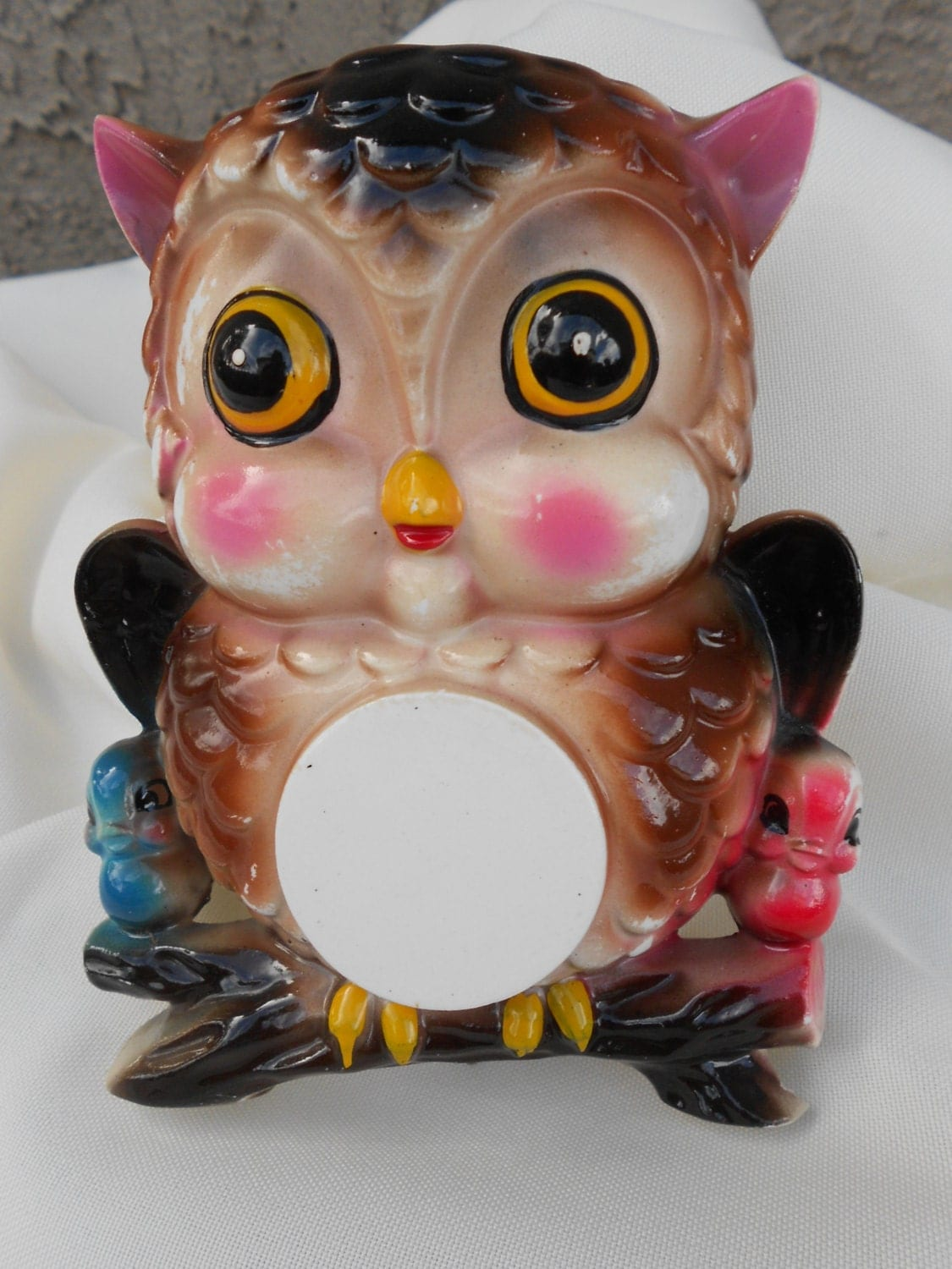 Vintage Ceramic Owl Wall Pocket Vase Big By