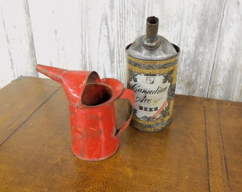 Industrial Farm FInd Red 1 Pint OIl Can Hand Made Canadian Ace Beer Oil Can Set of 2