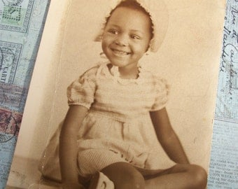 Vintage 1940's Original Photo Portrait of Young African American Girl - Sepia Tones