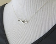 Music necklace, sterling silver treble clef necklace, graduation gift for music lover, sideways note, music note jewelry, clef jewelry,