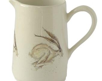 Hadley Hare Stoneware Jug - Woodland Vase, Animal Pitcher, Country Kitchen, Hare Gift