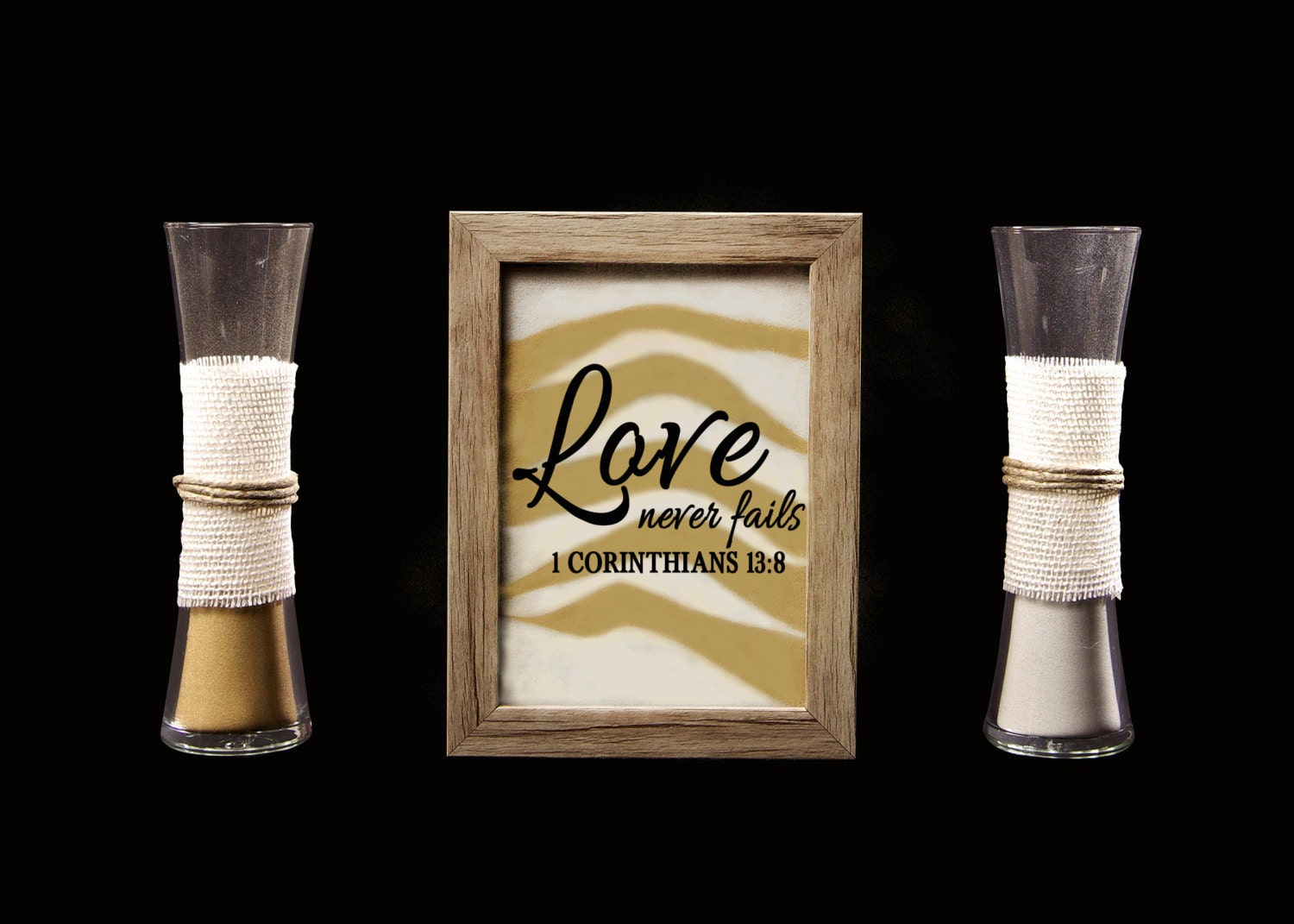 Love Never Fails Rustic Barn Wood Wedding Sand Ceremony Frame Set Unity Shadow Box