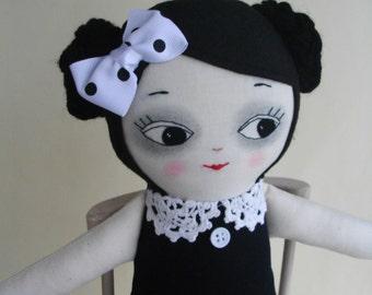 Goth Girl Ragdoll - Handmade OOAK cloth doll Gothic doll Artdoll Plush toy