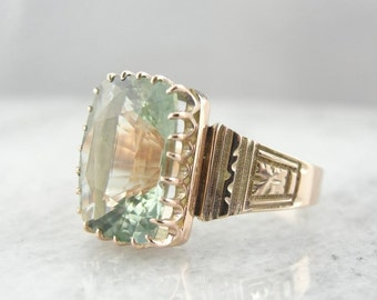 Antique Victorian Rose Gold Ring With Pale, Rare Beryl Gemstone 8WHHL9-D