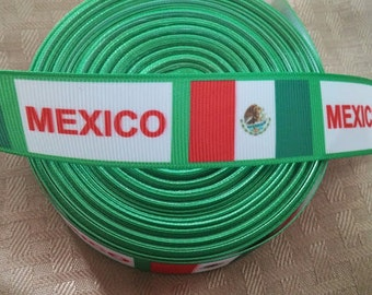 "1"" Mexico ribbon- hair bow ribbon- crafting- ribbon-"