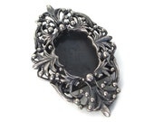Antique French 1800s  Edwardian Silver  Photo Frame Cameo Pin Brooch 19g