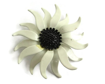 1960s Hippie Era  White Enamel Metal Flower Power Pin