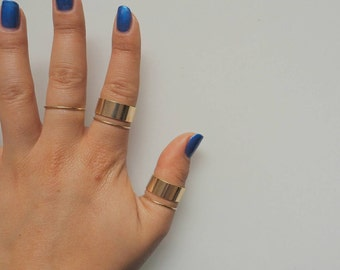 Thick Gold Band Ring Set of 2