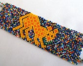 Mexican Huichol Beaded Jaguar Bracelet