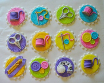 12 SEWING Theme Edible Fondant Cupcake Toppers