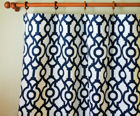 Two Curtain Drapes 25 Wide Premier Print Lyon Navy Or