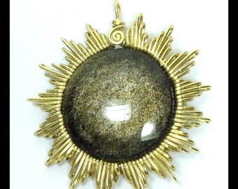 "Golden  obsidian pedant ""sol dorado"""