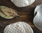 set of 3 natural CLEANING PADS handmade from natural fabric such as linen, hemp, wild-silk or organic cotton